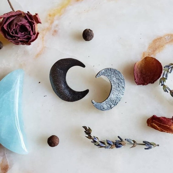 Silver Textured Crescent Moon Earrings