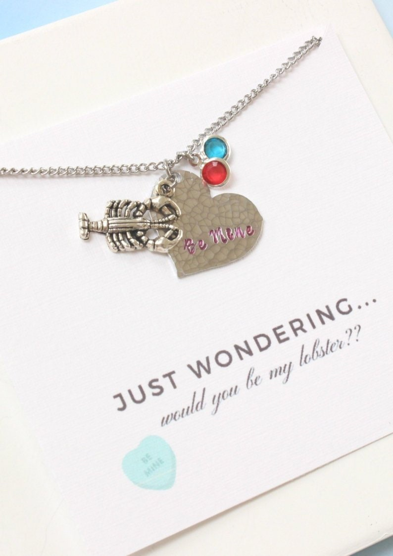 You/'re my Lobster Birthstone Necklace for Girlfriend,