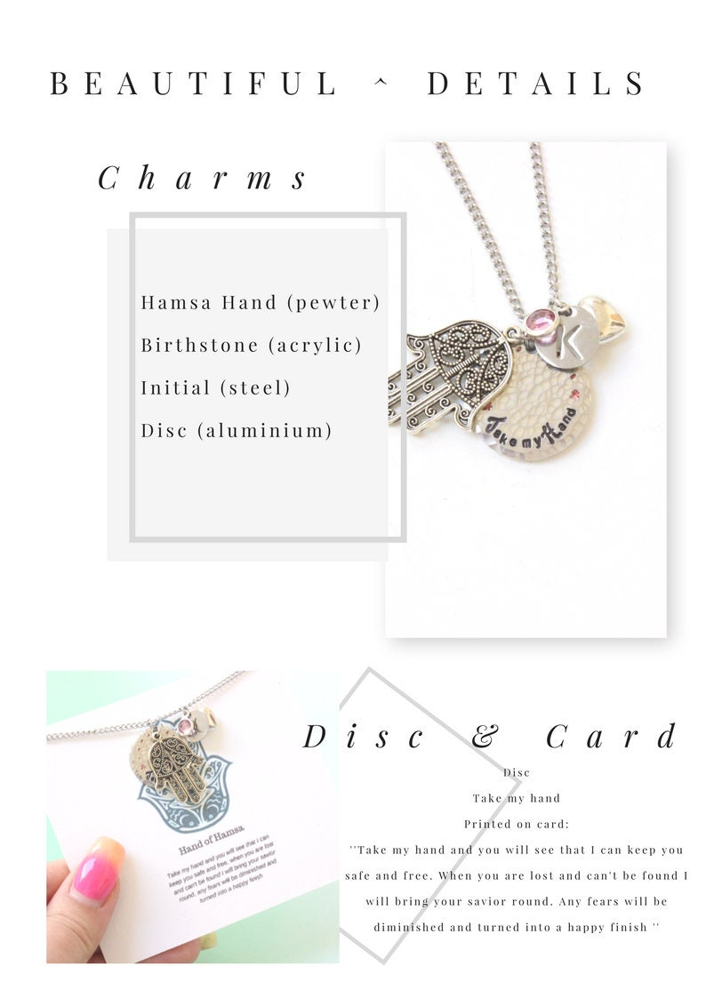 Personalised Hand of Hamsa Necklace with initial and birthstone