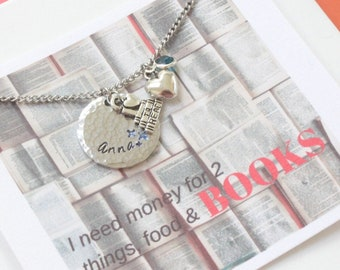 Book Lover Necklace Gift, Book Lover Jewelry, Bookworm Gift, Literary Gifts, Book Lover Pendant, Bookish Gifts Geek Jewelry, Book Pendant