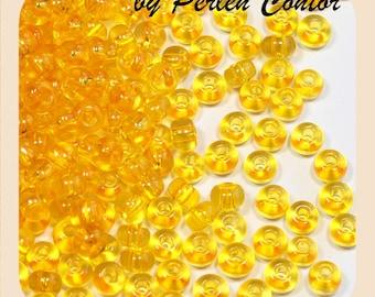 23 g glass beads 4.5 mm 5/0 gold ochre transparent preciosa seed beads (AZ1039)
