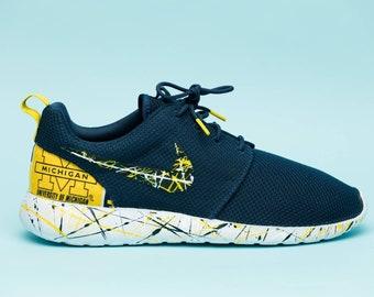 Nike University of Michigan GO Blue gym shoes custom hand made all sizes  mens   womens   children e3260cfcd472