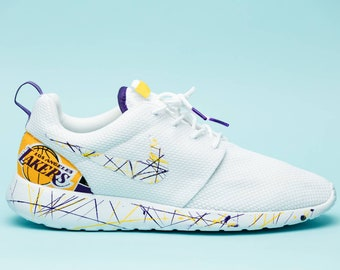ad57f161c04a15 Nike L.A. Lakers White gym shoes custom hand made all sizes mens   womens    children