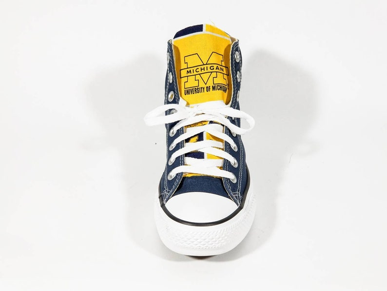 9395702c7962d Navy and White Converse Chuck Taylors Michigan Edition Custom hand made -  all sizes available