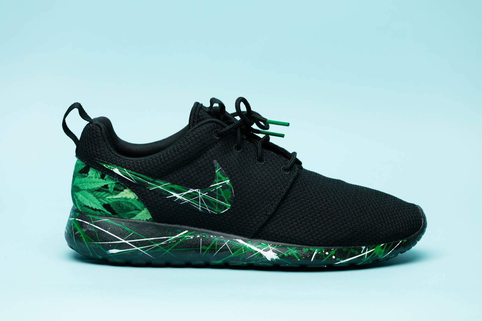 Chaussures de sport Nike Ganja vert noir kush sur fait main sur kush mesure  tous les ... 8b86aa618b99