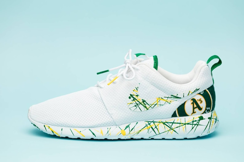 c407c16c53ea4 Nike Oakland As White gym shoes custom hand made all sizes mens / womens /  children