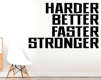 Giant Harder Better Faster Stronger   Motivation Fitness Workout Wall  Stickers, Inspirational Quote Wall Decal