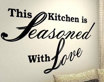 The Kitchen is Seasoned with Love Family life Home Quote vinyl decals stickers DIY Art Decor Removable Love Decal Mural Bedroom Happiness
