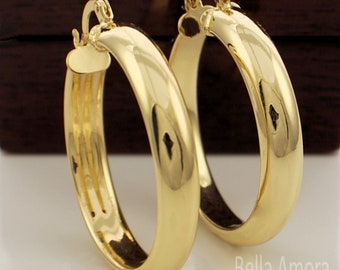 2f11acb73 Chunky 9ct Yellow Gold Plated Smooth Round Hoop Creole 35mm Earrings