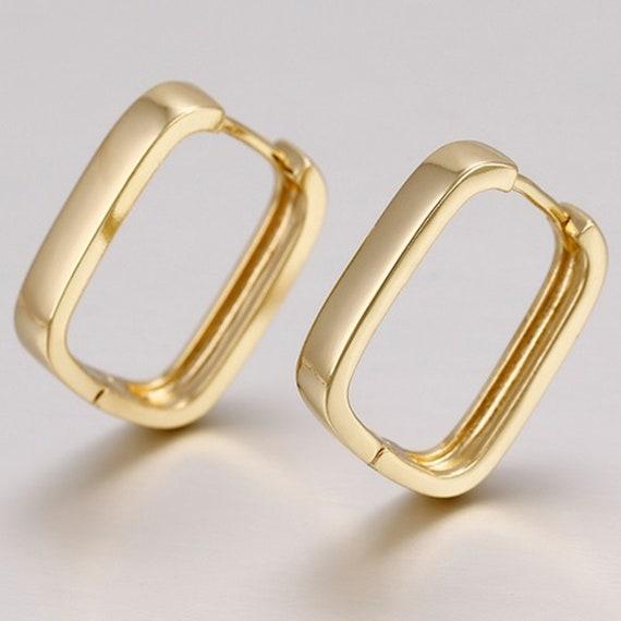 1x Pair 18mm 9ct Yellow Gold Round Hinged Hoop Sleeper Earrings