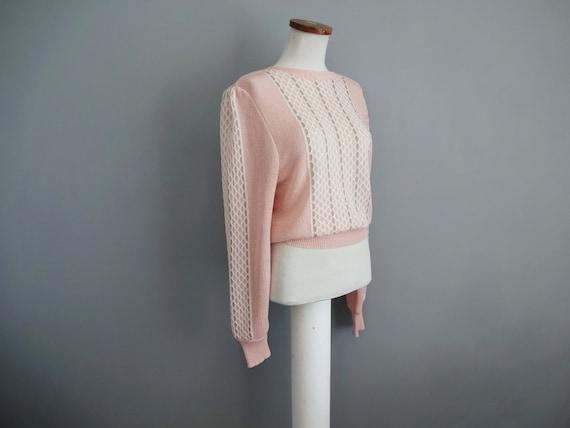Vintage 80/'s Light Pink V-Neck Jumper