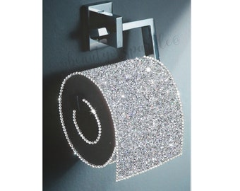 Silver/ Grey Toilet Roll Bathroom decor Glitter Canvas Picture. Print ONLY