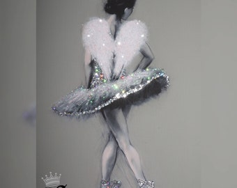 "Free Delivery. any size Customised Sparkle Glitter canvas print ""Ballerina"""