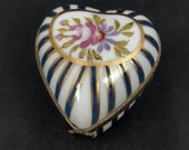 Limoges Trinket Box Heart Shaped Hand Painted Flowers and Stripes L Mark
