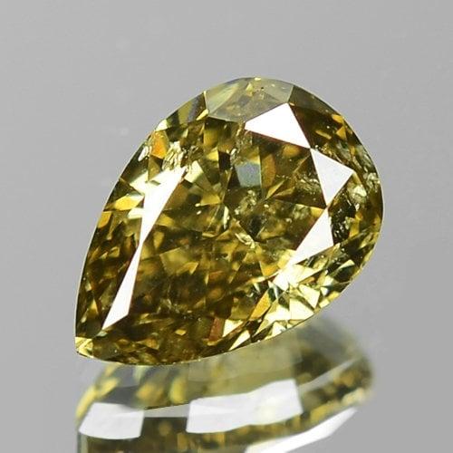0.49cts Natural Olive Green Pear Natural 0.49cts Loose Diamond