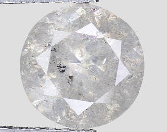"1.67cts 7.4mm Gray White Natural Loose Salt & Pepper Diamond ""SEE VIDEO"""