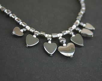 Hematite Heart Necklace