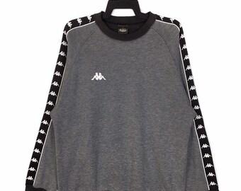 c4eb33a0259 Vintage Kappa Sweatshirt Kappa Side Tape Sweatshirt Crewneck