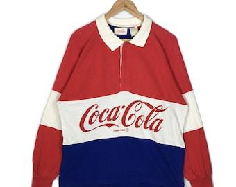 c1b63e18 Vintage Coca Cola Long Sleeve Rugby Polo Shirt Multicolored Stripe Shirts