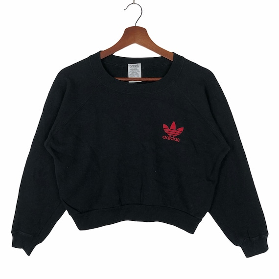 Vintage 90's Adidas Women Cropped Sweatshirt Small