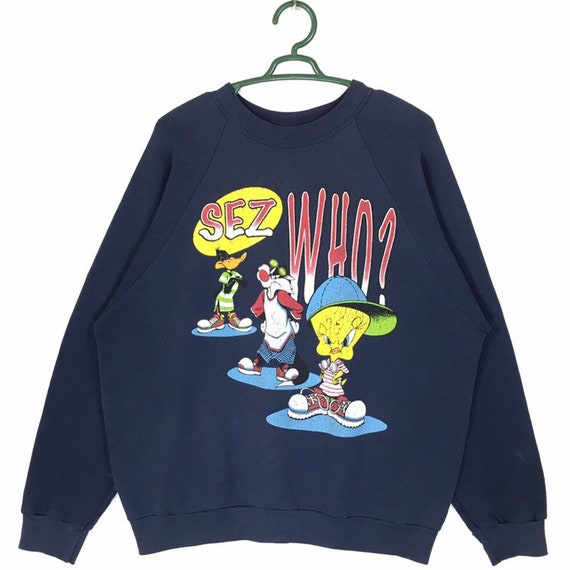 Vintage 90s Looney Tunes ''sez who?'' Sweatshirt |