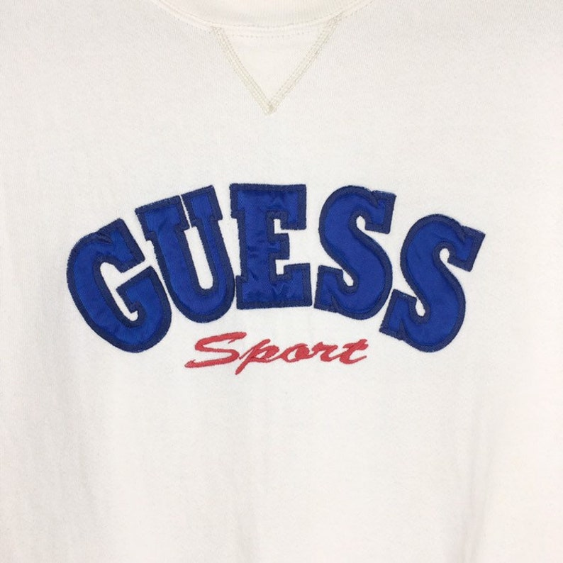 Vintage 90s Guess Sweatshirt Guess Big Logo Made In Usa Size Large White Colour Embroidery Big Logo Guess Sweatshirt