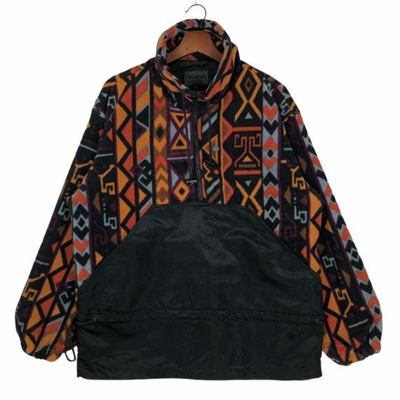 Vintage Multicolored Aztec Design Fleece Jacket N… - image 1