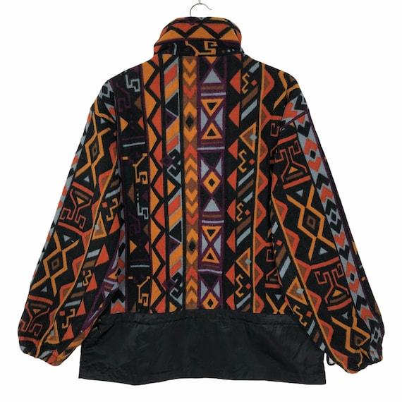Vintage Multicolored Aztec Design Fleece Jacket N… - image 2