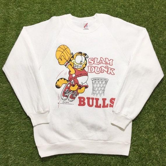 80s Cat Garfield Slam Dunk Bulls Sweatshirt Crewne