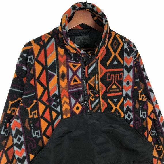 Vintage Multicolored Aztec Design Fleece Jacket N… - image 4
