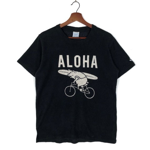 Vintage Aloha Surf Tee  Hogg Riding Bicycle Surf B