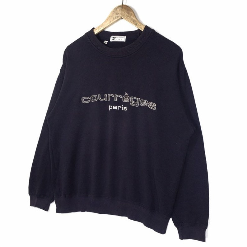 Courr\u00e8ges Sweatshirt Big Logo Embroidery  Courr\u00e8ges Paris Sweatshirt Rare!