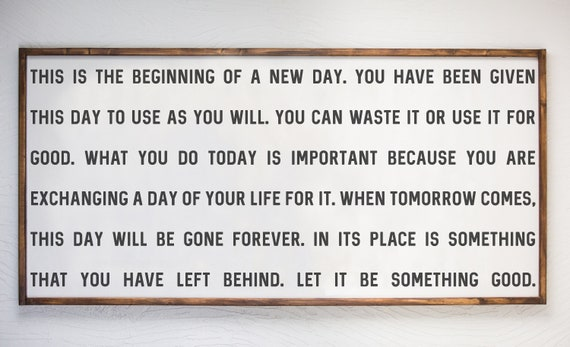 Beginning Of New Day Inspirational Quote Wood Sign Etsy