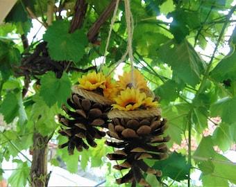 Set of 6 Pine cones, Rustic wedding, Sunflower wedding,Woodland wedding,Pine cone decoration,Sunflower decor,wall decor,Pine cone ornaments