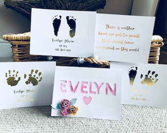 Baby Name Card with hand and foot prints