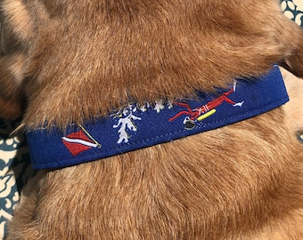 Jacquard Ribbon Dog Collar - Size Medium - Scuba Divers