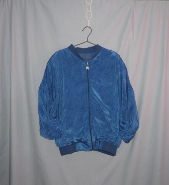 Vintage 80's PIERRE CARDIN blue silk unisex Bomber