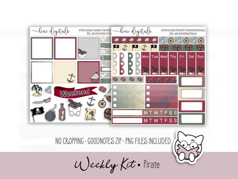 Davy Pirates   GoodNotes Cropped Files   Digital Planner Stickers    Metamoji Xodo   iPad Android