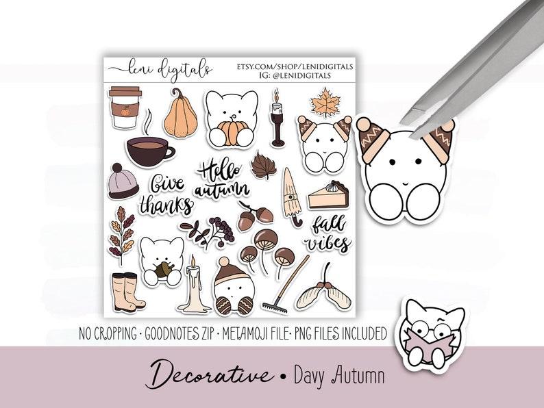 Davy Autumn • Digital Planner Stickers   Digital Planner   MetaMoJi Xodo    iPad Android   Leni Digitals