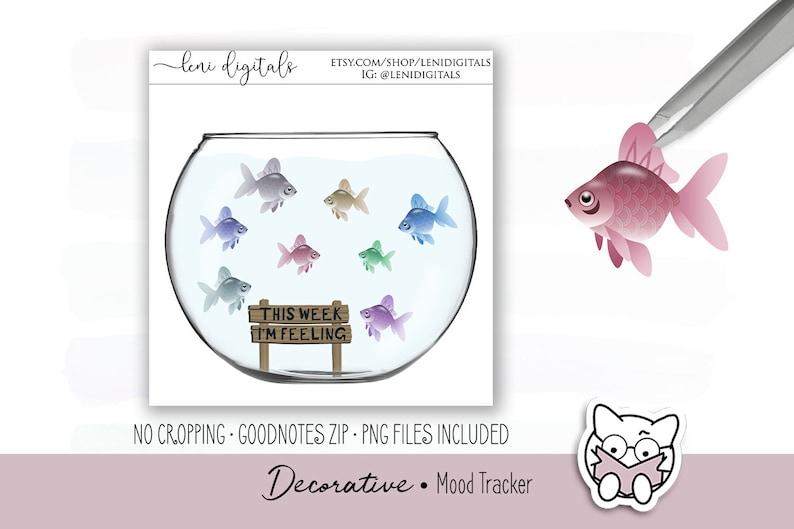 Digital Planner Stickers • Mood Tracker • Fish Bowl   Digital Planner    MetaMoJi Xodo   iPad Android   Leni Digitals