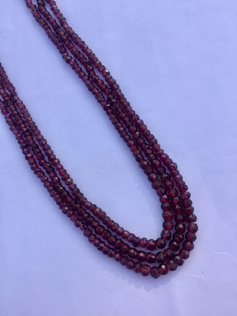 semiprecious gemstone 3mm 3 strand necklace 16 inch AAA quality red garnet faceted rondelle shape beads necklace gemstone for jewelry
