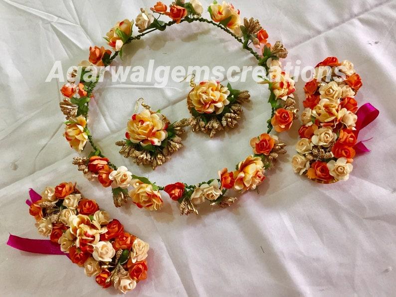 Wedding jewellery set indian jewellery for haldi flower crown set Indian jewellery indian jewellery mehndi Handmade flower jewellery