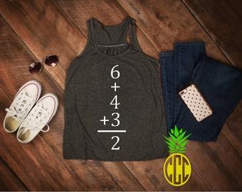 Baseball/Softball Double Play math Tank top 6+4+3=2