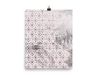 Pink and grey marble snowflake print