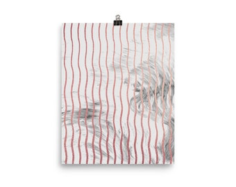 Pink and grey marble waves print