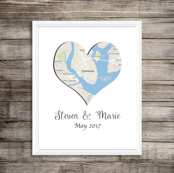 Wedding Map Art Wedding Map Cute Wedding Gift Custom Map Etsy