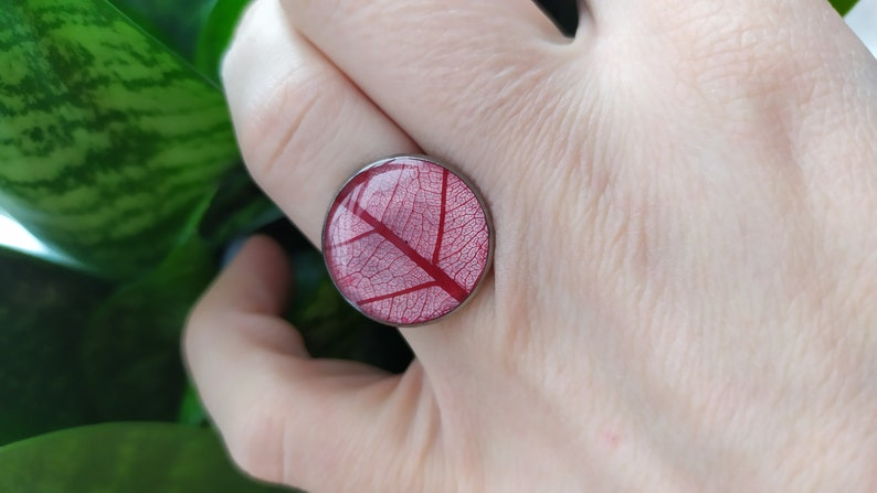 Handmade Ring Free Shipping Real Plant Ring Epoxy Resin Ring Red Leaf Ring Stainless Steel Circle Ring- Botanical Jewelry