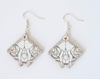 Cat skull wooden earrings