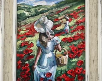 Original  oil painting Figurative Impressionism Poppy Field Wall art Gift idea