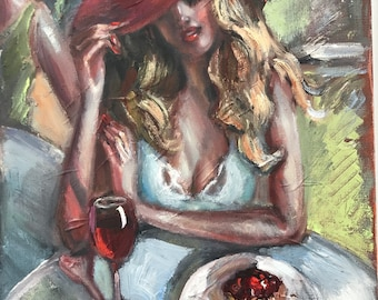 Original oil  painting Figurative  Cafe scenes Women with glass of white